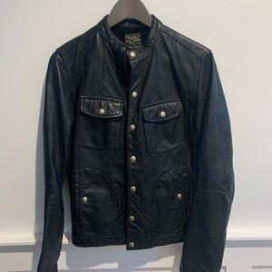 Lucky brand black leather jacket large
